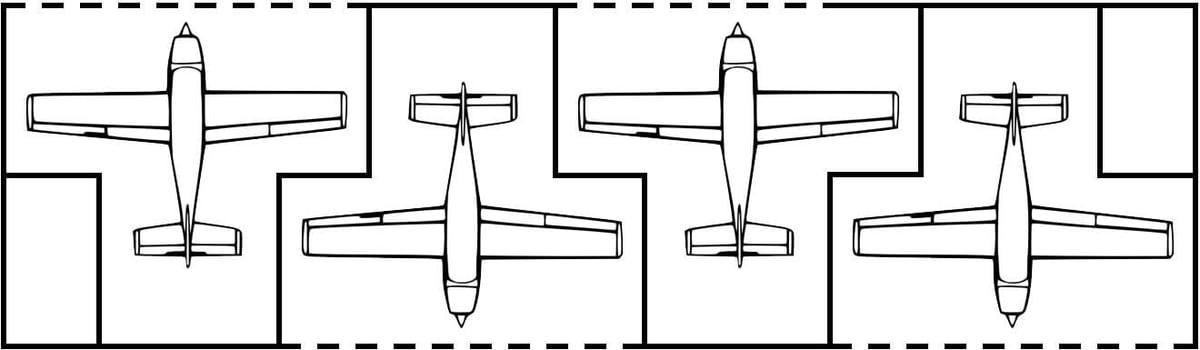 T hangar aircraft formation